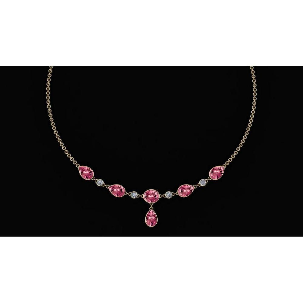 Certified 20.25 Ctw Pink Tourmaline And Diamond VS/SI1 Beautiful Necklace 14K Yellow Gold Made In USA #1AC23914