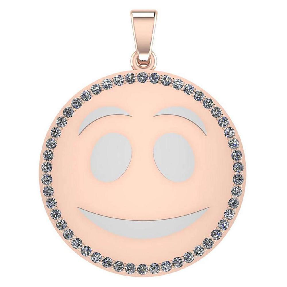 Certified 1.00 Ctw Diamond Smiley 18K Rose Gold Pendant #1AC23559
