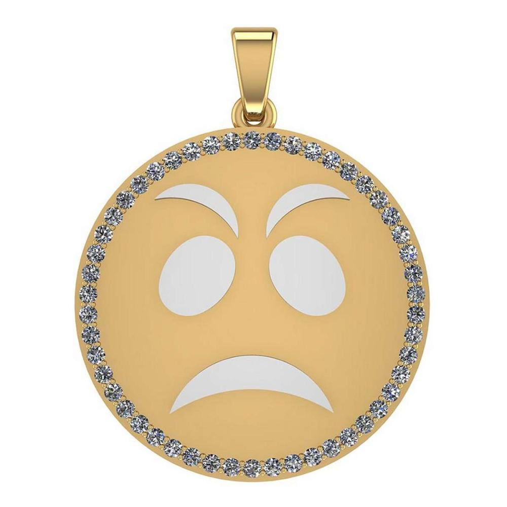Certified 0.95 Ctw Diamond Smiley 18K Yellow Gold Pendant #1AC23555
