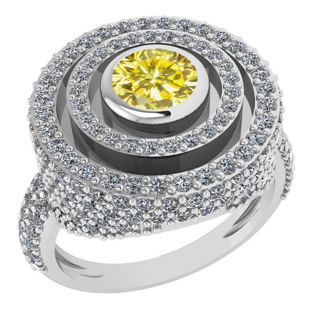 Certified 2.05Ctw Fancy Yellow Diamond And White G-H Diamond Wedding/Engagement 14K White Gold Halo Ring G-H VS/SI1 #1AC15669
