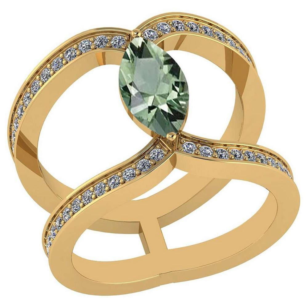 Certified 1.52 Ctw Green Amethyst And Diamond VS/SI1 Ring 14K Yellow Gold Made In USA #1AC23757