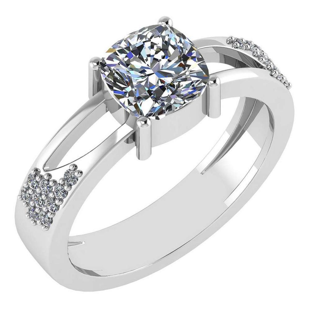 Certified 1.18 Ctw Diamond Wedding/Engagement Style 14K White Gold Halo Ring (SI2/I1) #1AC17907