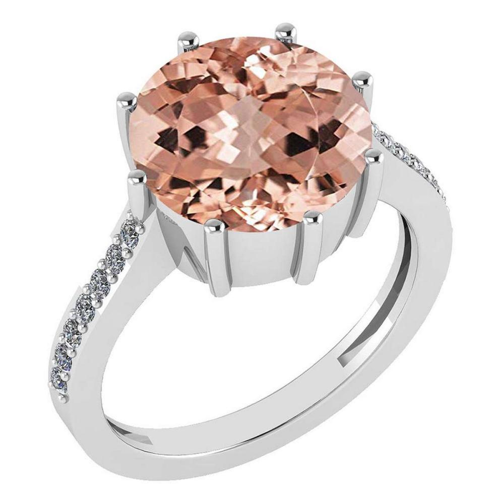 Certified 2.14 Ctw Morganite And Diamond VS/SI1 Engagement Ring 14K White Gold Made In USA #1AC22563