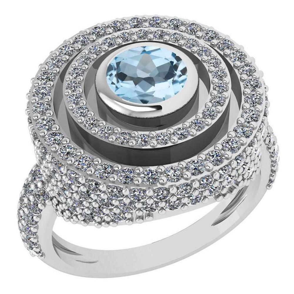 Certified 2.05Ctw Aquamrine And Diamond Wedding/Engagement 14K White Gold Halo Ring G-H VS/SI1 #1AC15668