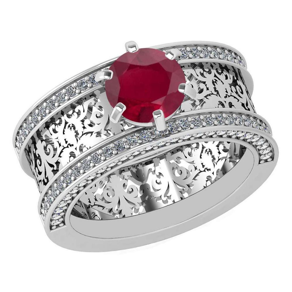 Certified 1.79 Ctw Ruby And Diamond Wedding/Engagement 14K White Gold Halo Ring G-H VS/SI1 #1AC15711
