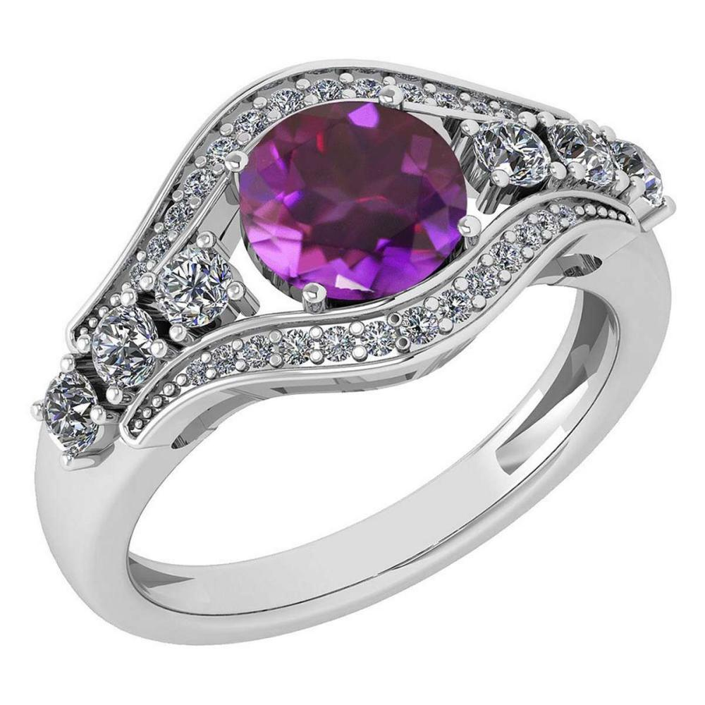 Certified 1.80 Ctw Amethyst And Diamond VS/SI1 Ring 14K White Gold Made In USA #1AC21822