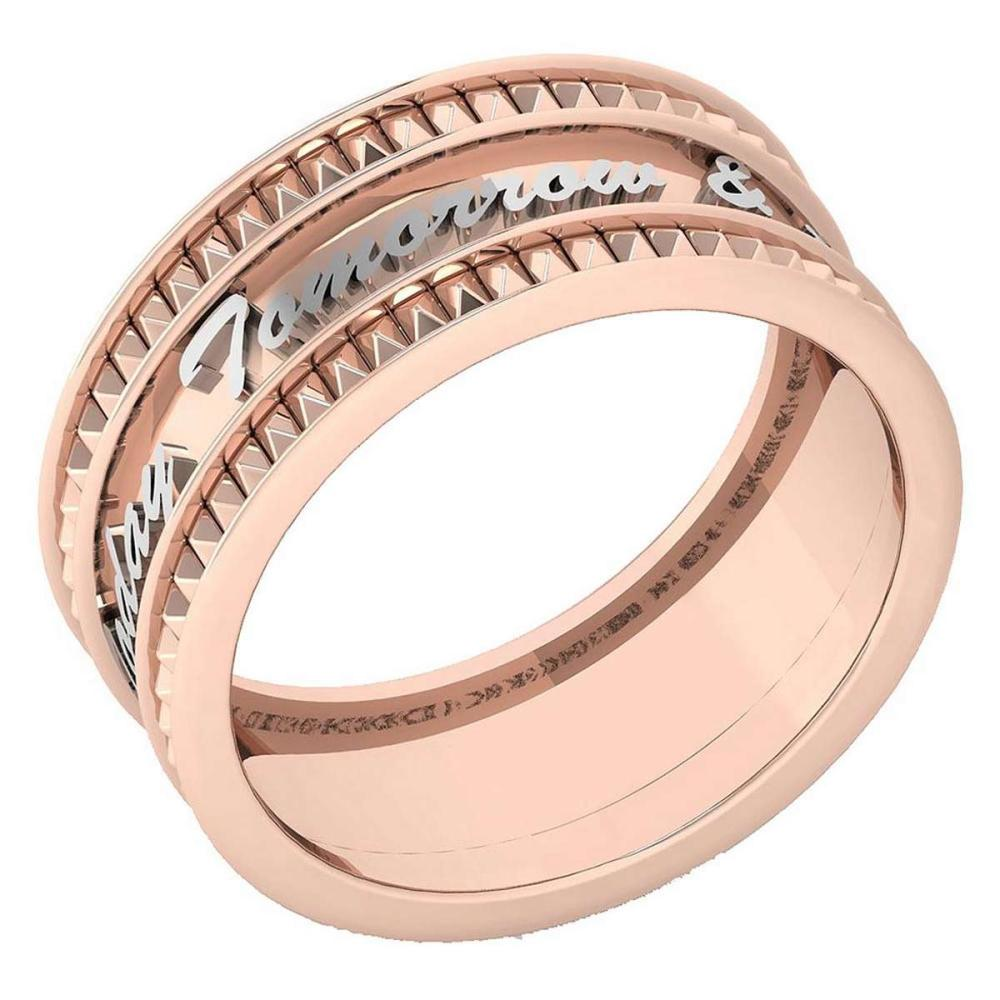 Certified 18K Rose Gold A Unique Promise Band With Engraving Being Yours TodayTomorrow & Alwayas #1AC23610