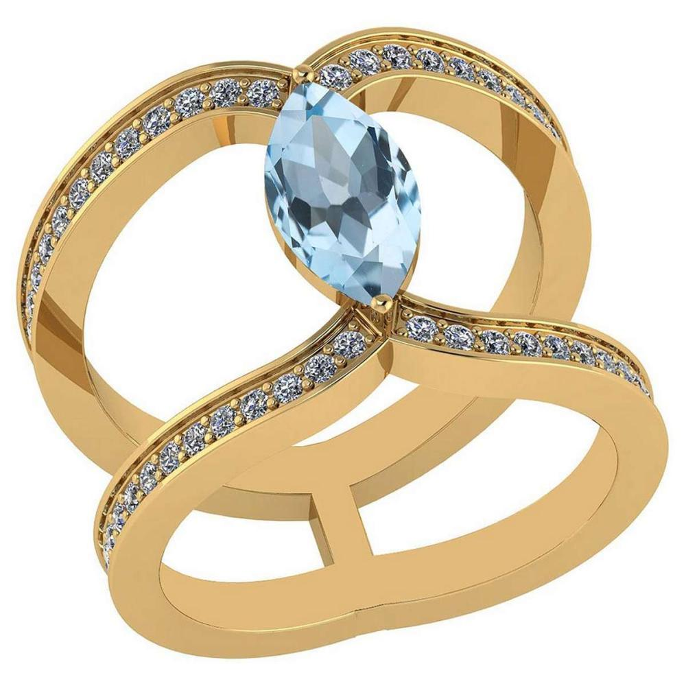 Certified 1.52 Ctw Blue Topaz And Diamond VS/SI1 Ring 14K Yellow Gold Made In USA #1AC23760