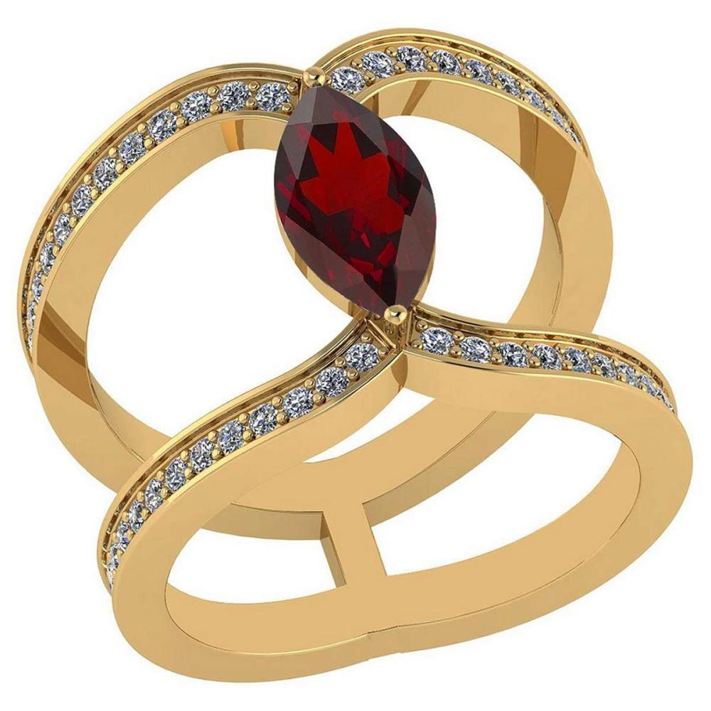 Certified 1.52 Ctw Garnet And Diamond VS/SI1 Ring 14K Yellow Gold Made In USA #1AC23759