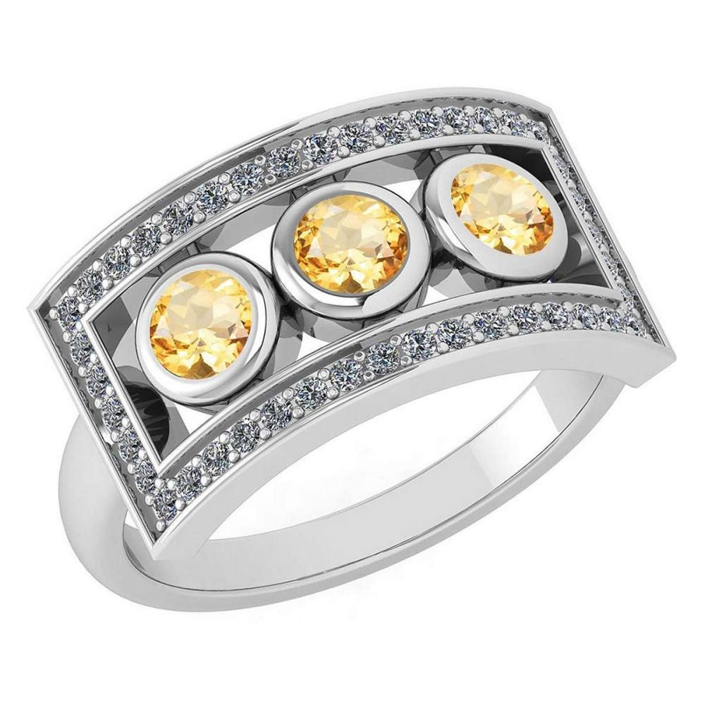 Certified 0.72 Ctw Citrine And Diamond Wedding/Engagement Style 14K White Gold Halo Ring (VS/SI1) #1AC18196