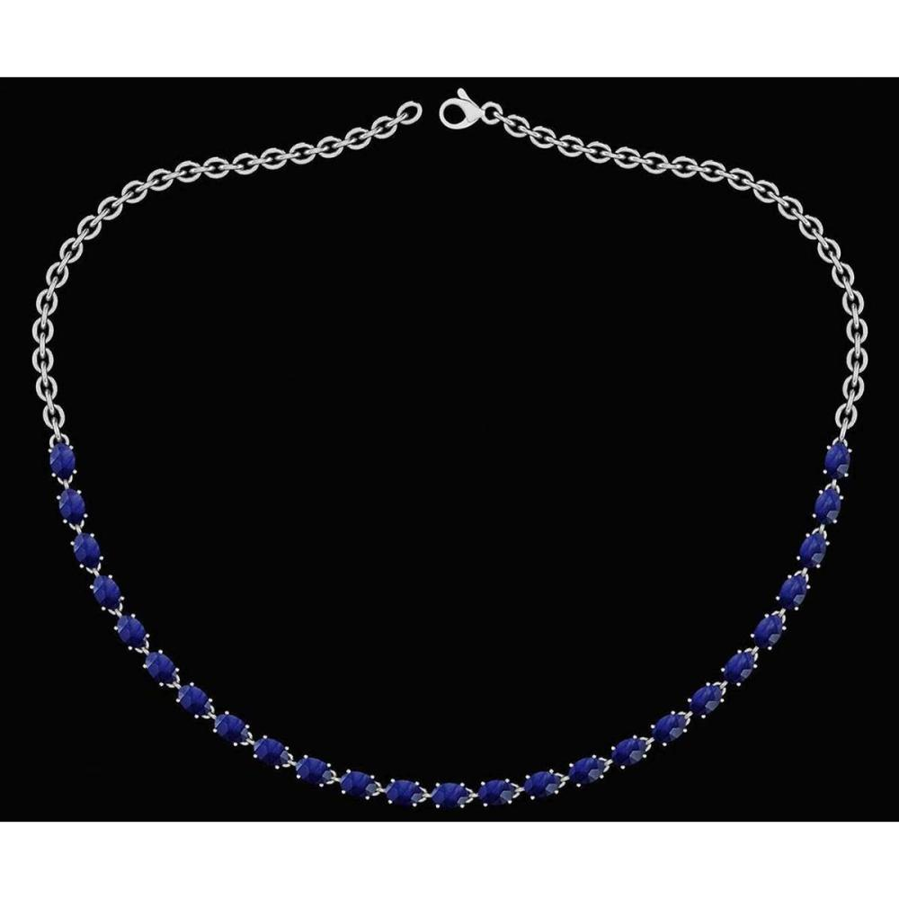 Certified 12.50 Ctw Blue Sapphire Oval Shape Necklace For womens collection 14K White Gold #1AC18035