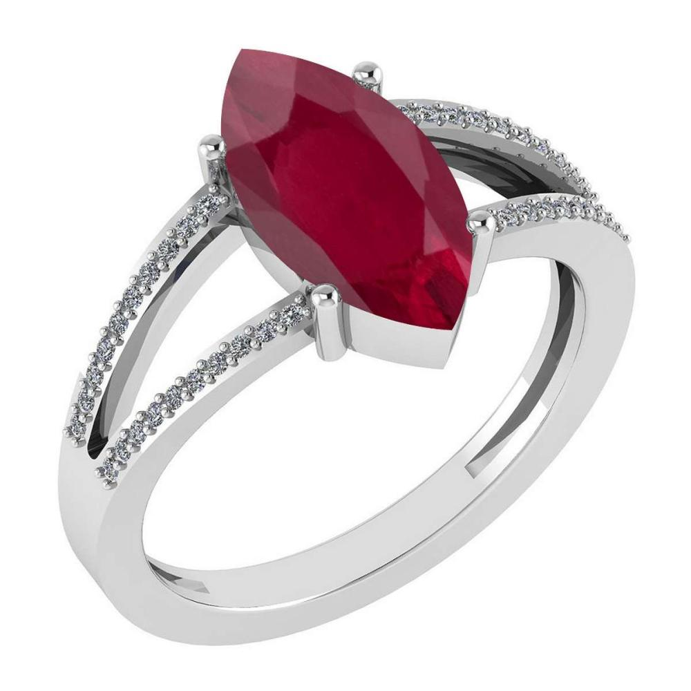 Certified 2.20 Ctw Ruby And Diamond VS/SI1 Ring 14K White Gold Made In USA #1AC23302