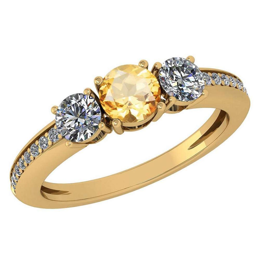 Certified 1.06 Ctw Citrine And Diamond Wedding/Engagement Style 14K Yellow Gold Halo Ring (VS/SI1) #1AC18202