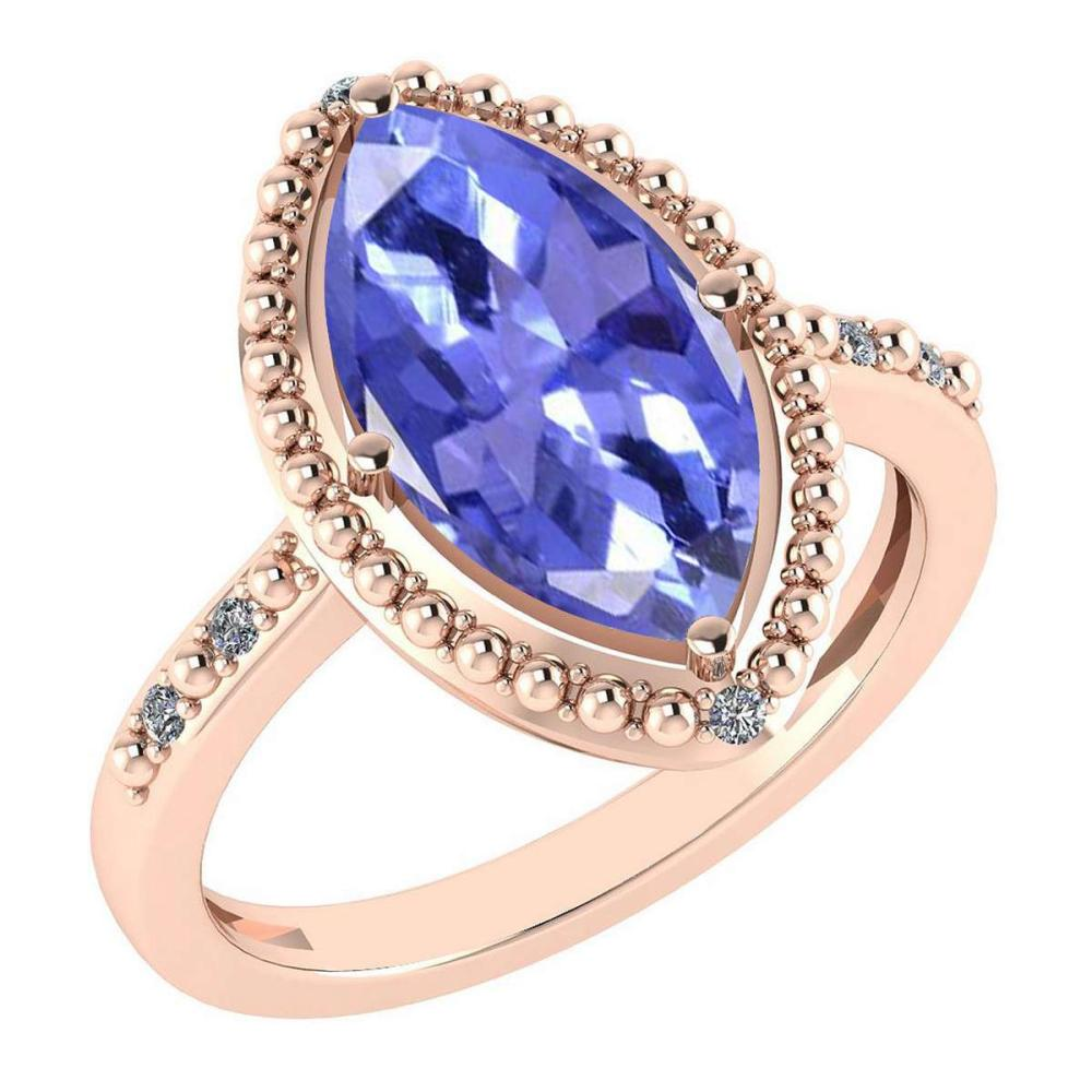Certified 1.58 Ctw Tanzanite And Diamond VS/SI1 Ring 14K Rose Gold Made In USA #1AC23308