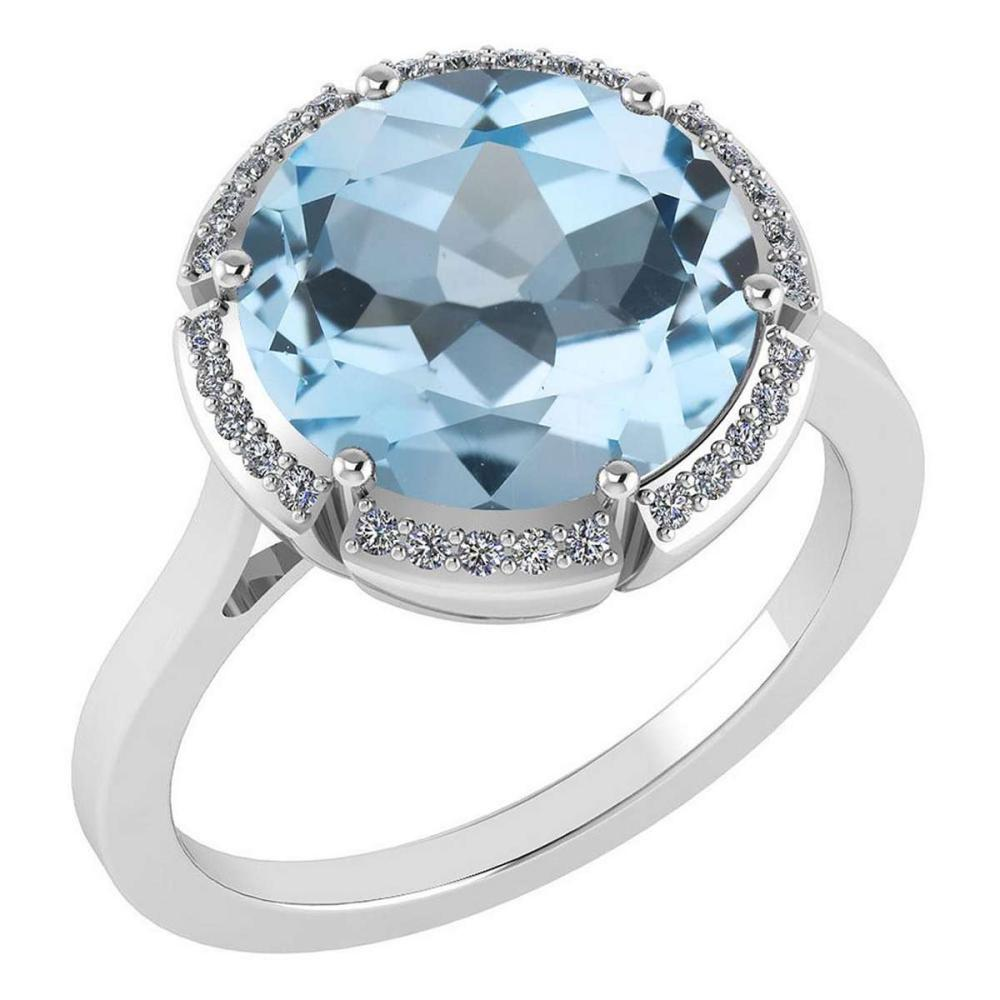 Certified 2.42 Ctw Blue Topaz And Diamond VS/SI1 Halo Ring 14K White Gold Made In USA #1AC21909