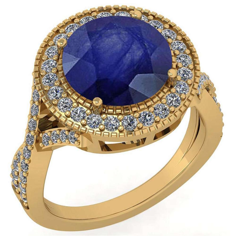 Certified 4.13 Ctw Blue Sapphire And Diamond VS/SI1 Engagement Halo Ring 14K Yellow Gold Made In USA #1AC22716