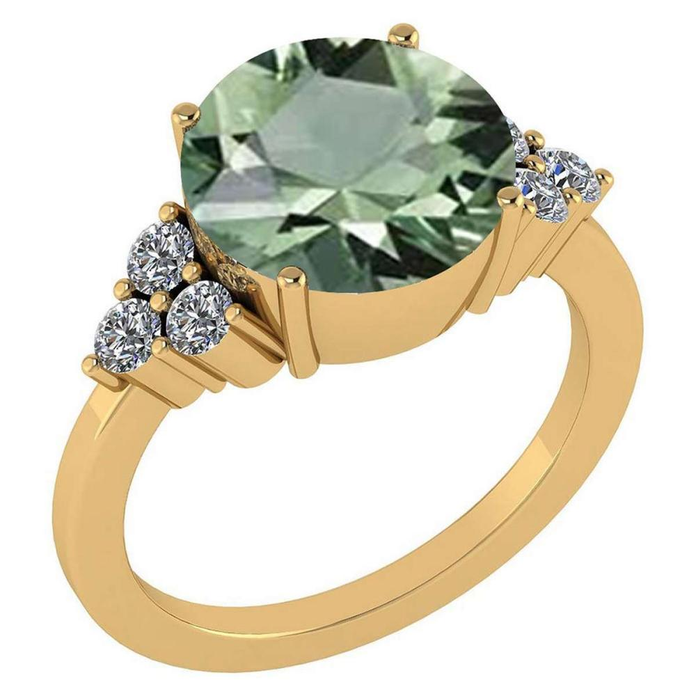 Certified 3.60 Ctw Green Amethyst And Diamond VS/SI1 Ring 14K Yellow Gold Made In USA #1AC21912