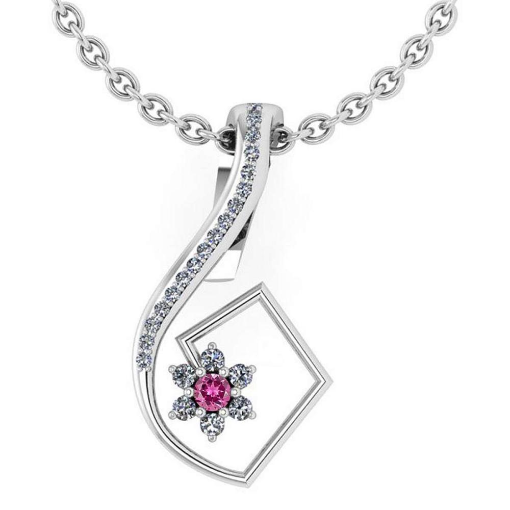 Certified 0.58 Ctw Pink Tourmaline And Diamond 14k White Gold Halo Pendant #1AC13012