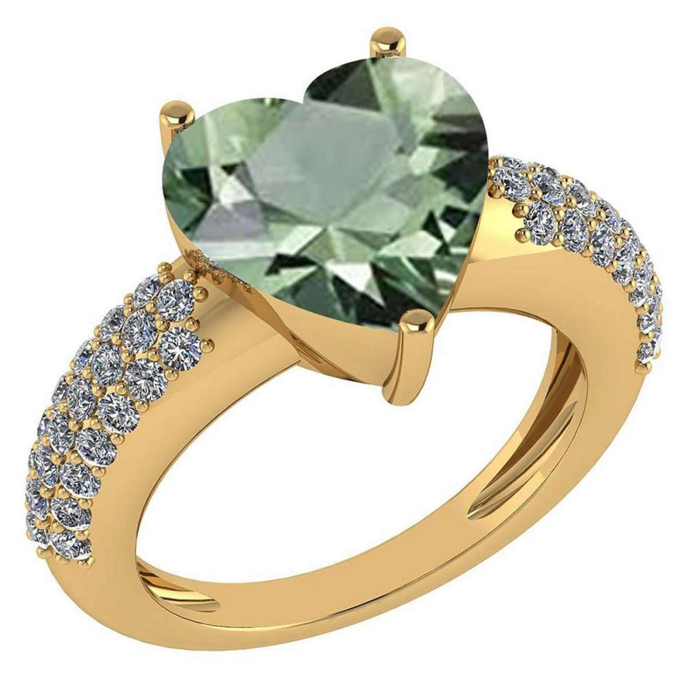 Certified 5.31 Ctw Green Amethyst And Diamond VS/SI1 Ring 14K Yellow Gold Made In USA #1AC23725