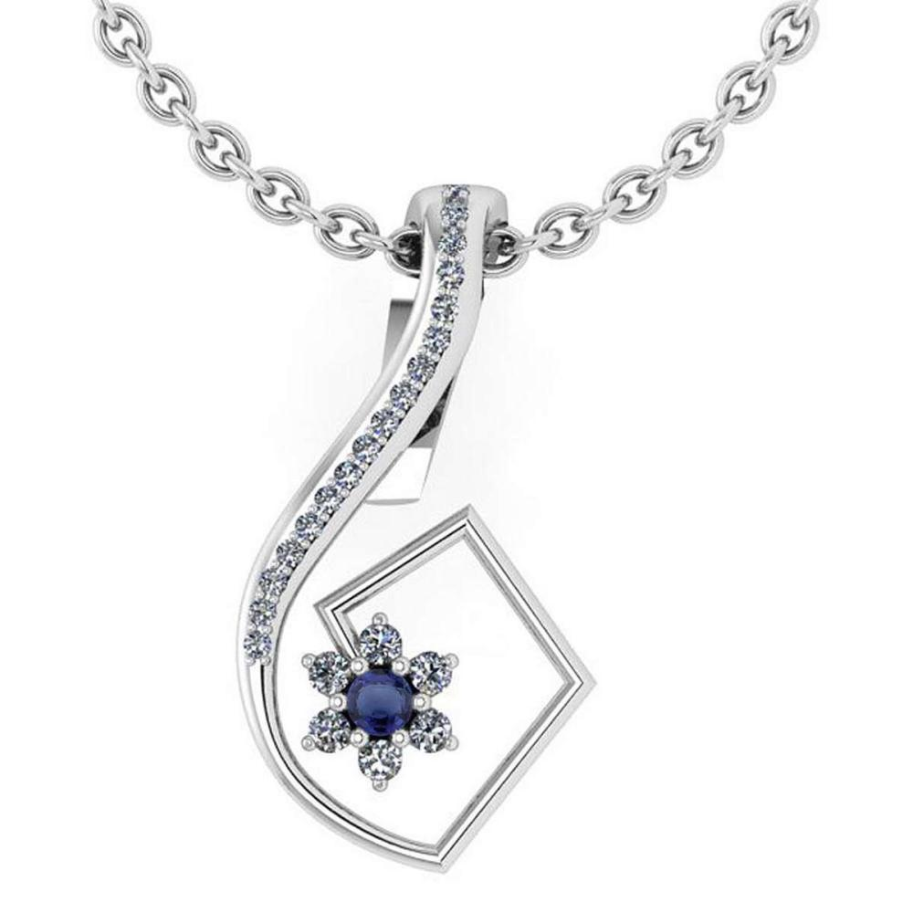 Certified 0.58 Ctw Blue Sapphire And Diamond 14k White Gold Halo Pendant #1AC13013
