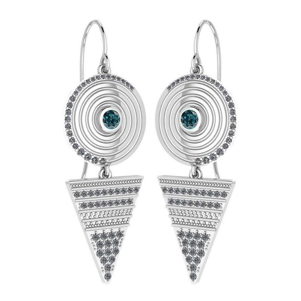 Certified 0.81 Ctw Treated Fancy Blue Diamond VS/SI1 And White Diamond VS/SI1 Wire Hook Style Earrings For beautiful ladies 14K White Gold #1AC20200