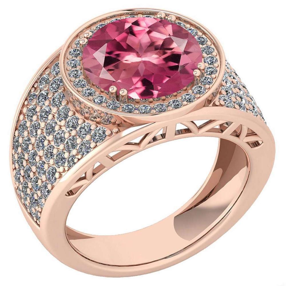 Certified 4.71 Ctw Pink Tourmaline And Diamond VS/SI1 Unique Engagement Ring 14K Rose Gold Made In USA #1AC22763