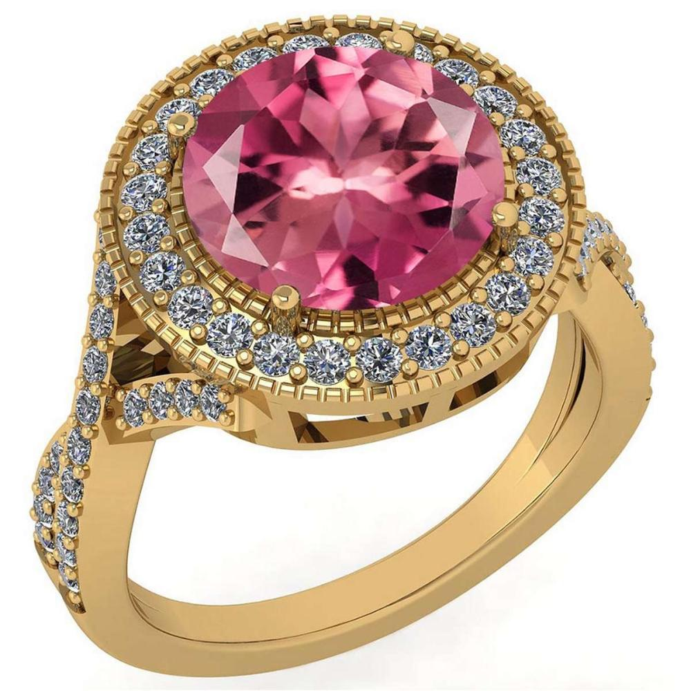 Certified 4.13 Ctw Pink Tourmaline And Diamond VS/SI1 Engagement Halo Ring 14K Yellow Gold Made In USA #1AC22715