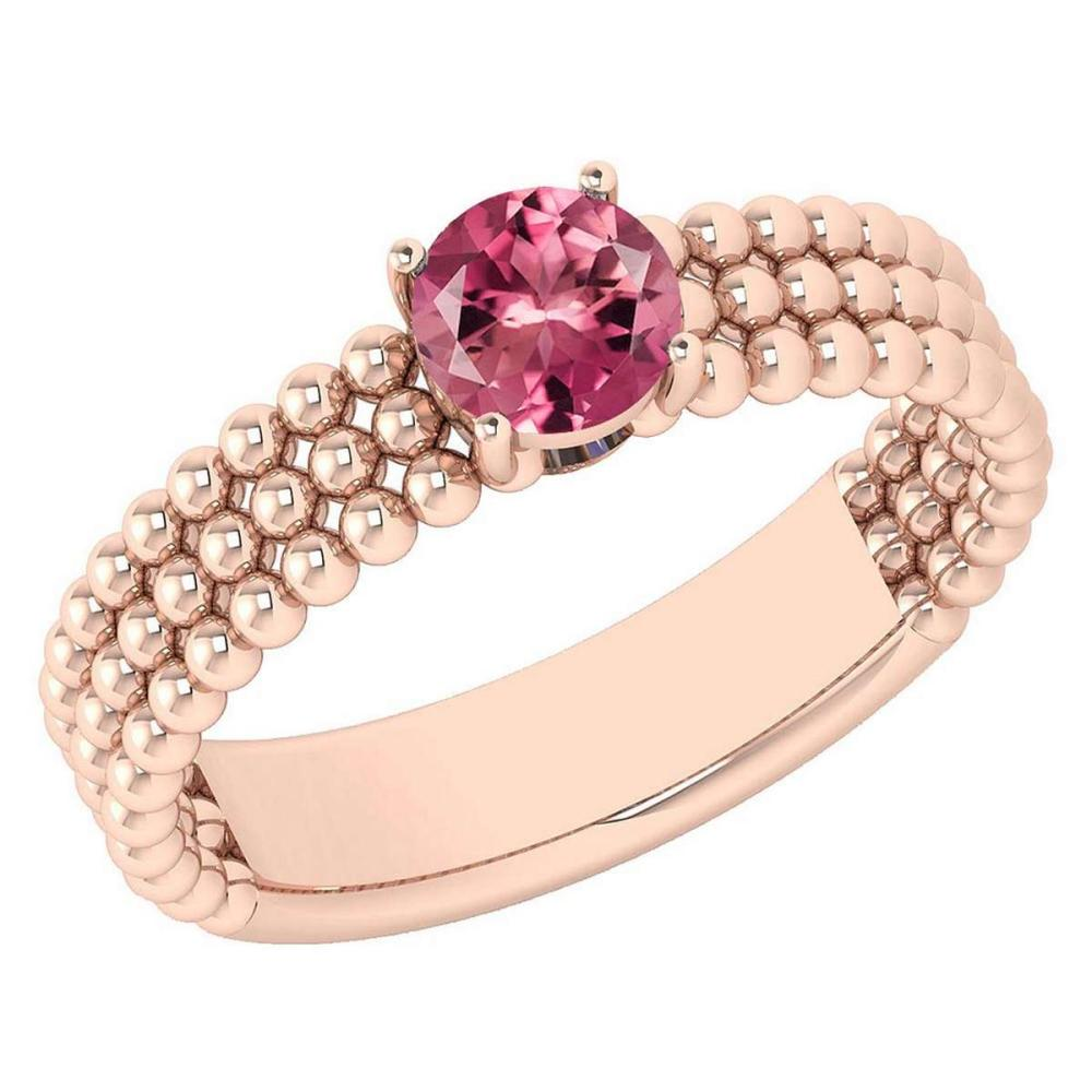 Certified 0.50 Ctw Pink Tourmaline Solitaire 14K Rose Gold Promises Ring Made In USA #1AC22528