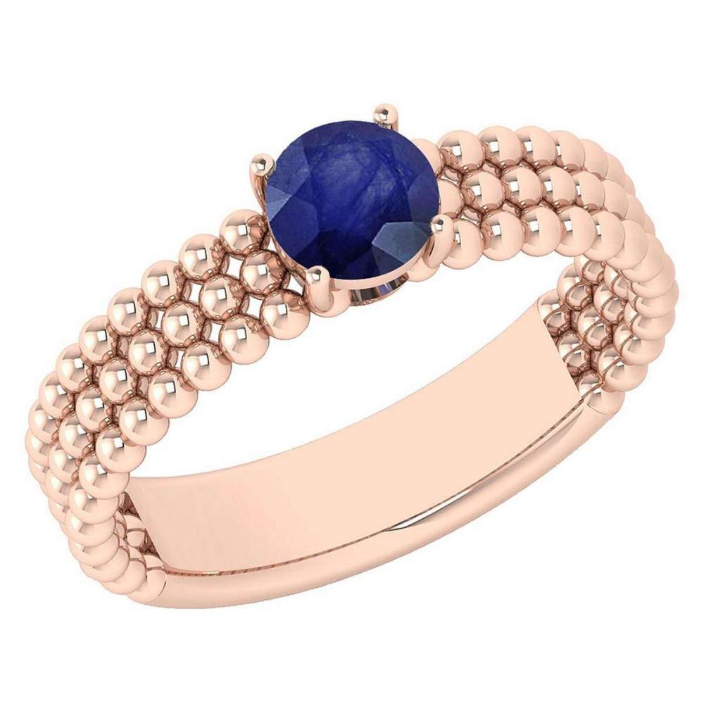 Certified 0.50 Ctw Blue Sapphire Solitaire 14K Rose Gold Promises Ring Made In USA #1AC22529