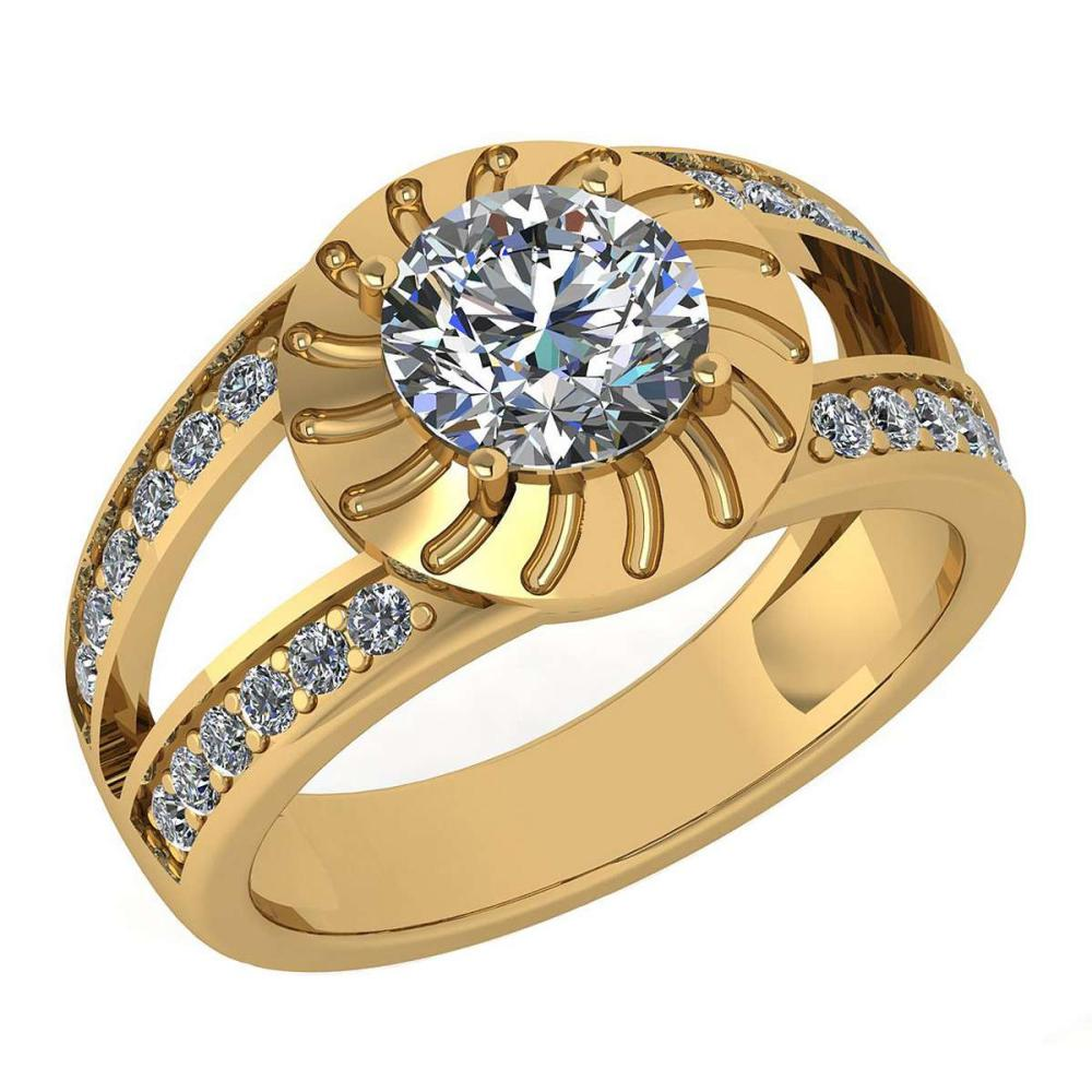 Certified 1.58 Ctw Diamond Wedding/Engagement Style 14K Yellow Gold Halo Ring (SI2/I1) #1AC17885