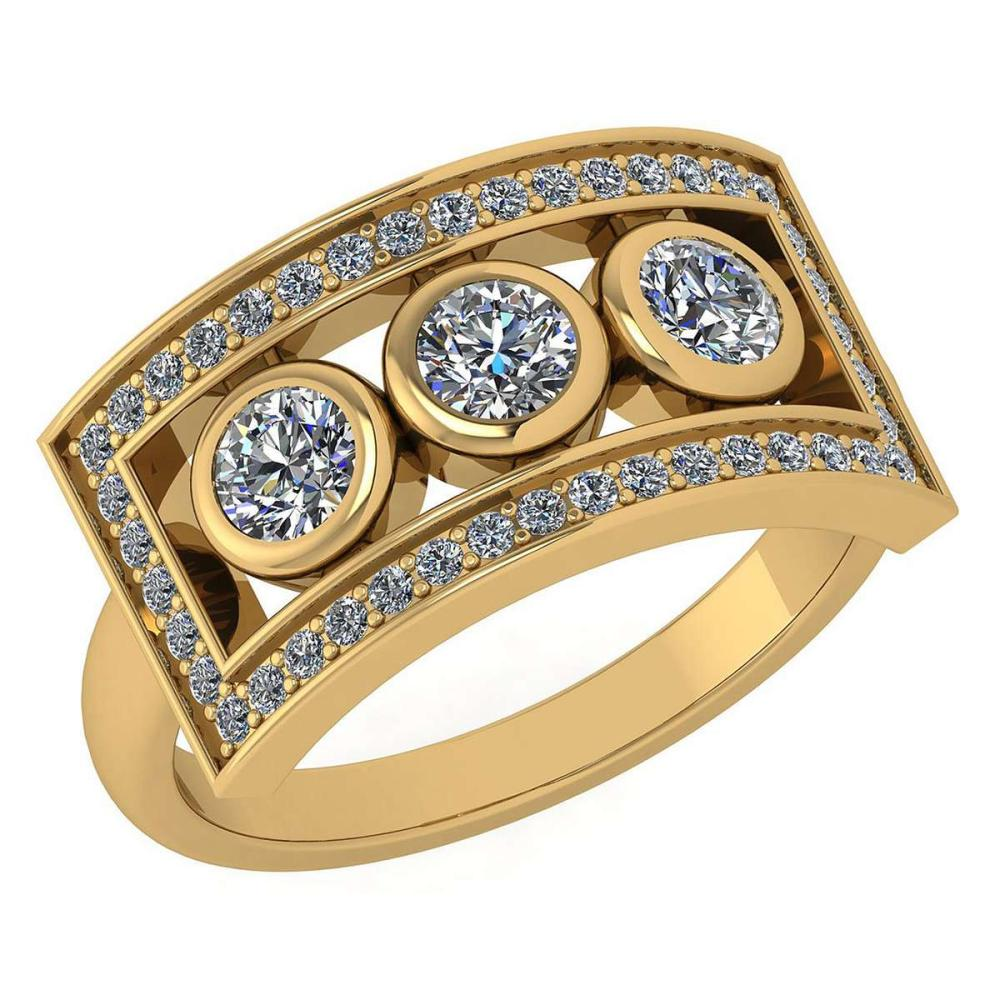 Certified 0.72 Ctw Diamond Wedding/Engagement Style 14K Yellow Gold Halo Ring (SI2/I1) #1AC17897