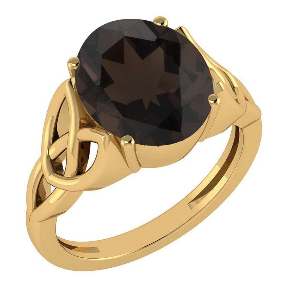 Certified 2.50 Ctw Smoky Quartz 14K Yellow Gold Solitaire Ring Made In USA #1AC21931