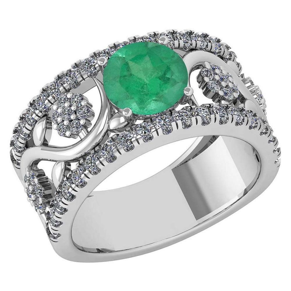 Certified 2.00 Ctw Emerald And Diamond VS/SI1 Wedding/ Engagement Style Halo Rings 14K White Gold #1AC20223