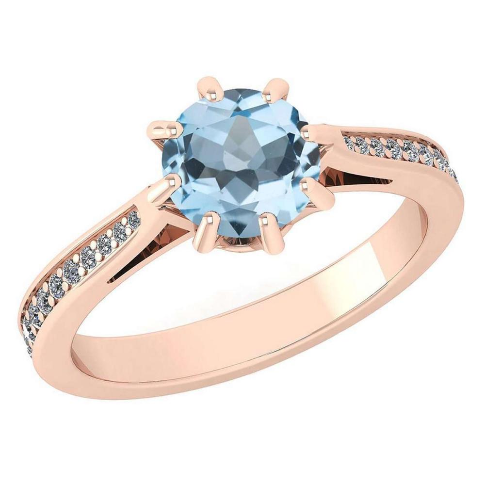 Certified 0.99 Ctw Aquamrine And White Diamond Wedding/Engagement 14K Rose Gold Halo Ring (VS/SI1) #1AC17999
