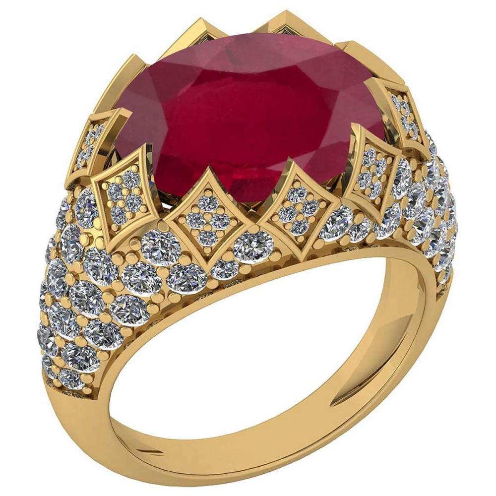 Certified 7.81 Ctw Ruby And Diamond VS/SI1 Unique Engagement Ring 14K Yellow Gold Made In USA #1AC22760