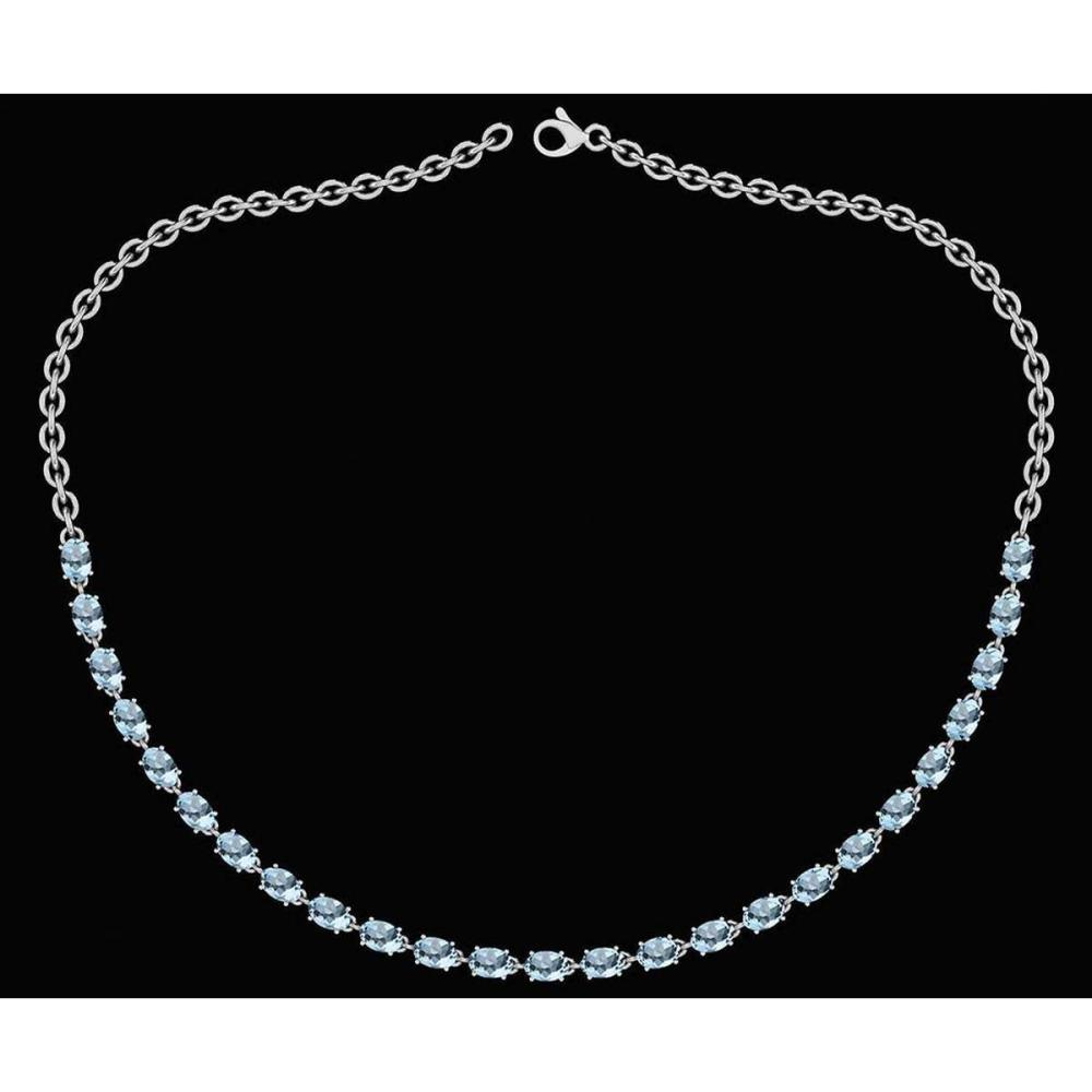 Certified 12.50 Ctw Aquamrine Oval Shape Necklace For womens collection 14K White Gold #1AC18034