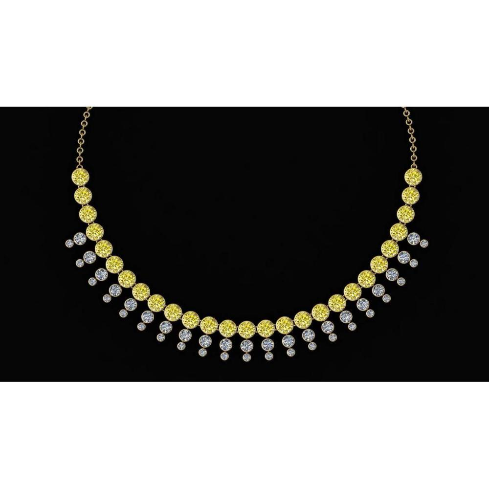 Certified 45.30 Ctw Treated Fancy Yellow Diamond I1/I2 And Diamond Unique Beautiful Necklace 14K Yellow Gold #1AC23771