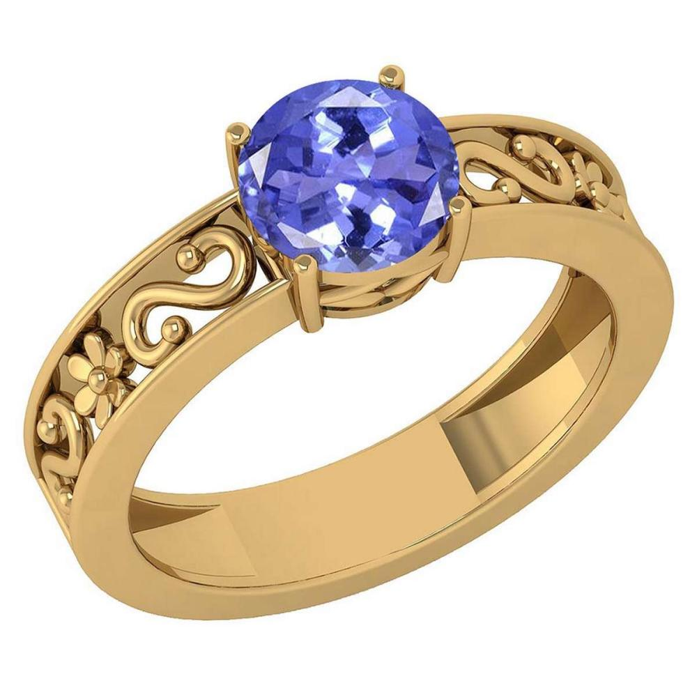 Certified 1.25 Ctw Tanzanite Solitaire Ring with Filigree Style 14K Yellow Gold Made In USA #1AC22526