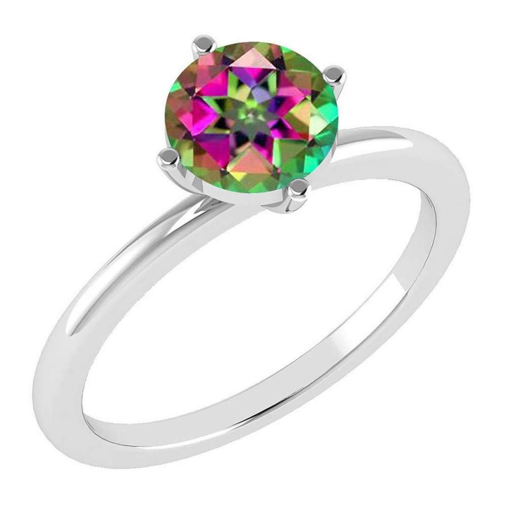 Certified 1.25 Ctw Mystic Topaz 14K White Gold Solitaire Ring Made In USA #1AC21862