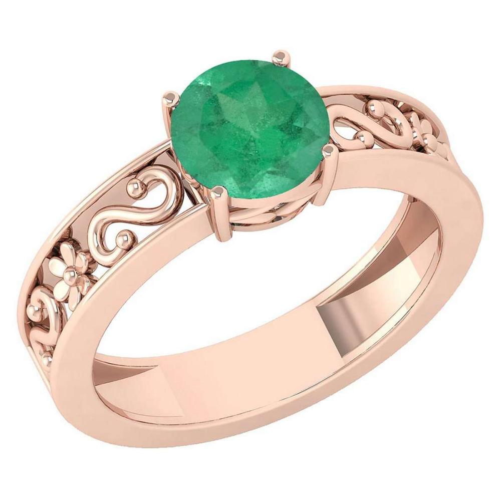 Certified 1.25 Ctw Emerald Solitaire Ring with Filigree Style 14K Rose Gold Made In USA #1AC22735