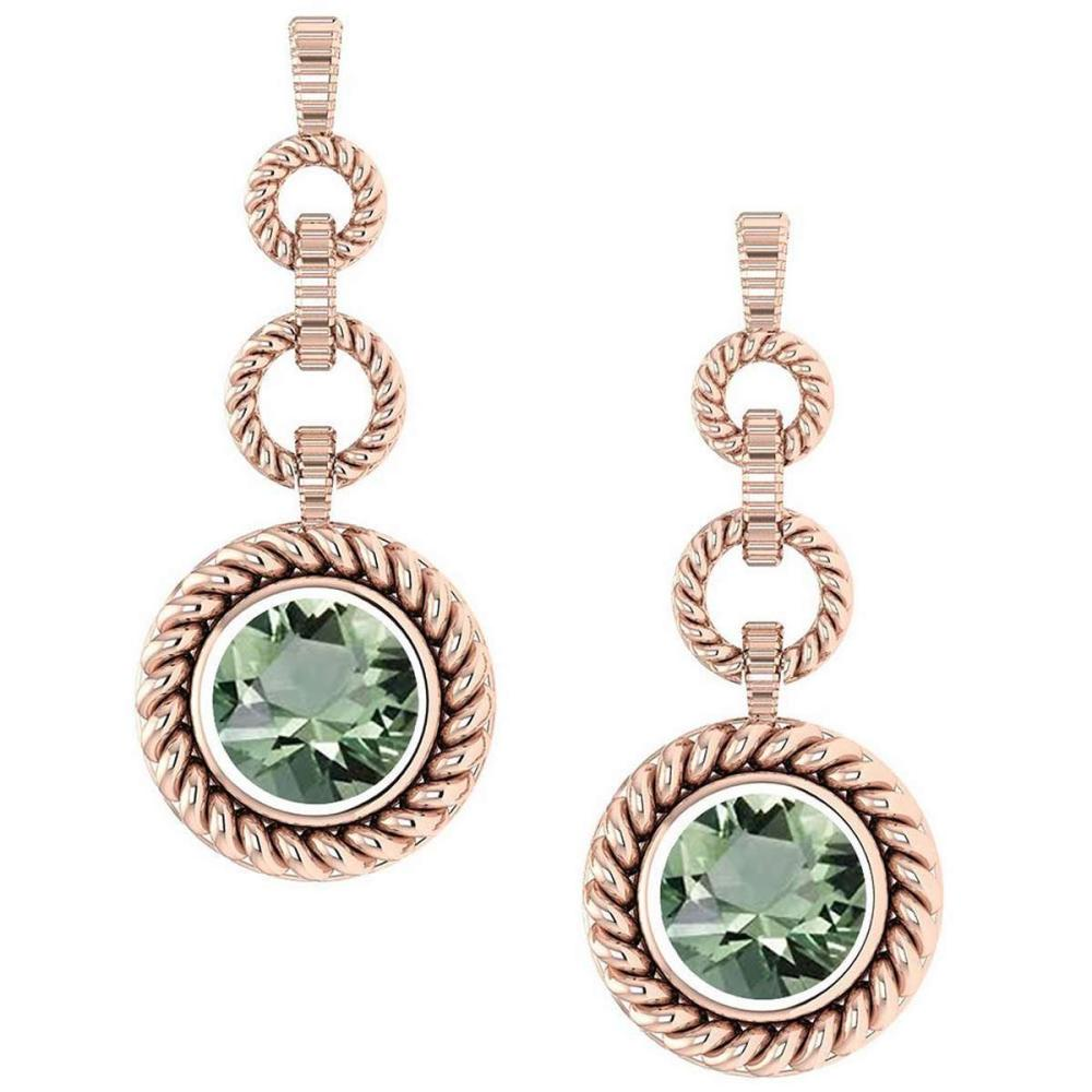 Certified 5.00 Ctw Green Amethsyt Wedding/Engagement Style 14k Rose Gold Halo Hanging Stud Earrings #1AC18053