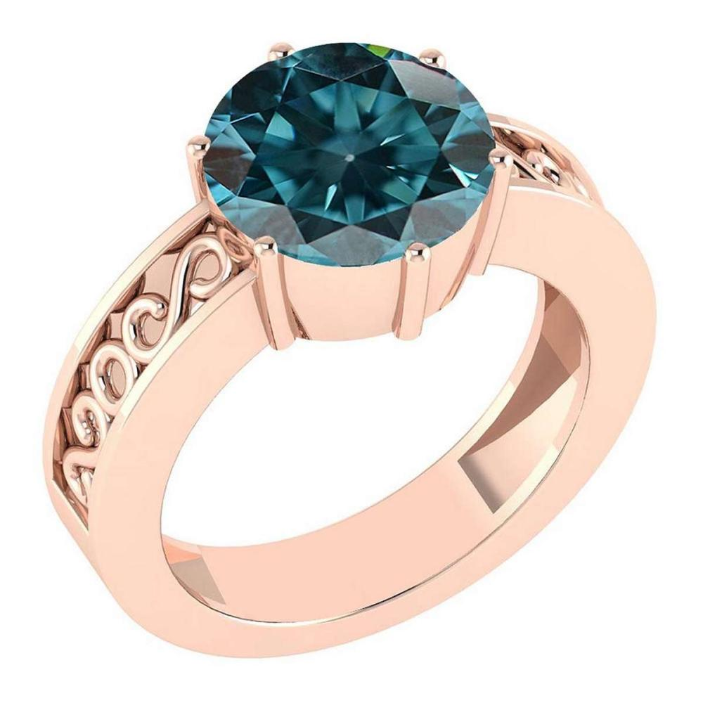 Certified 1.25 Ctw Treated Fancy Blue Diamond SI1/SI2 Solitaire Ring with Filigree Style 14K Rose Gold Made In USA #1AC22570