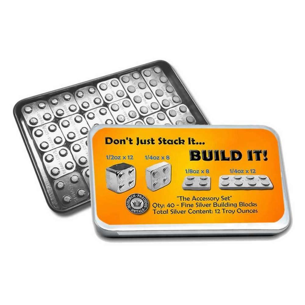 12 oz Silver - Building Block Bars - 40pc Accessory Set #1AC96507