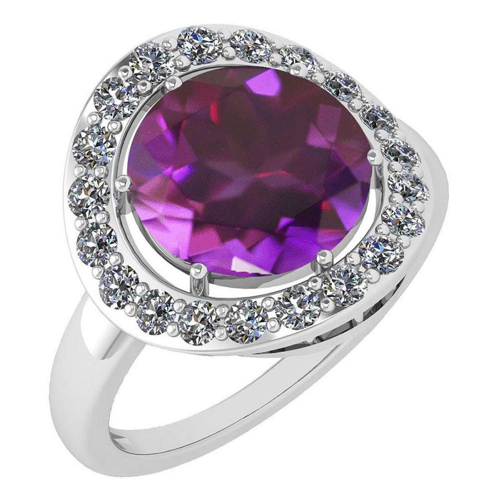 Certified 4.08 Ctw Amethyst And Diamond VS/SI1 Halo Ring 14K White Gold Made In USA #1AC21964