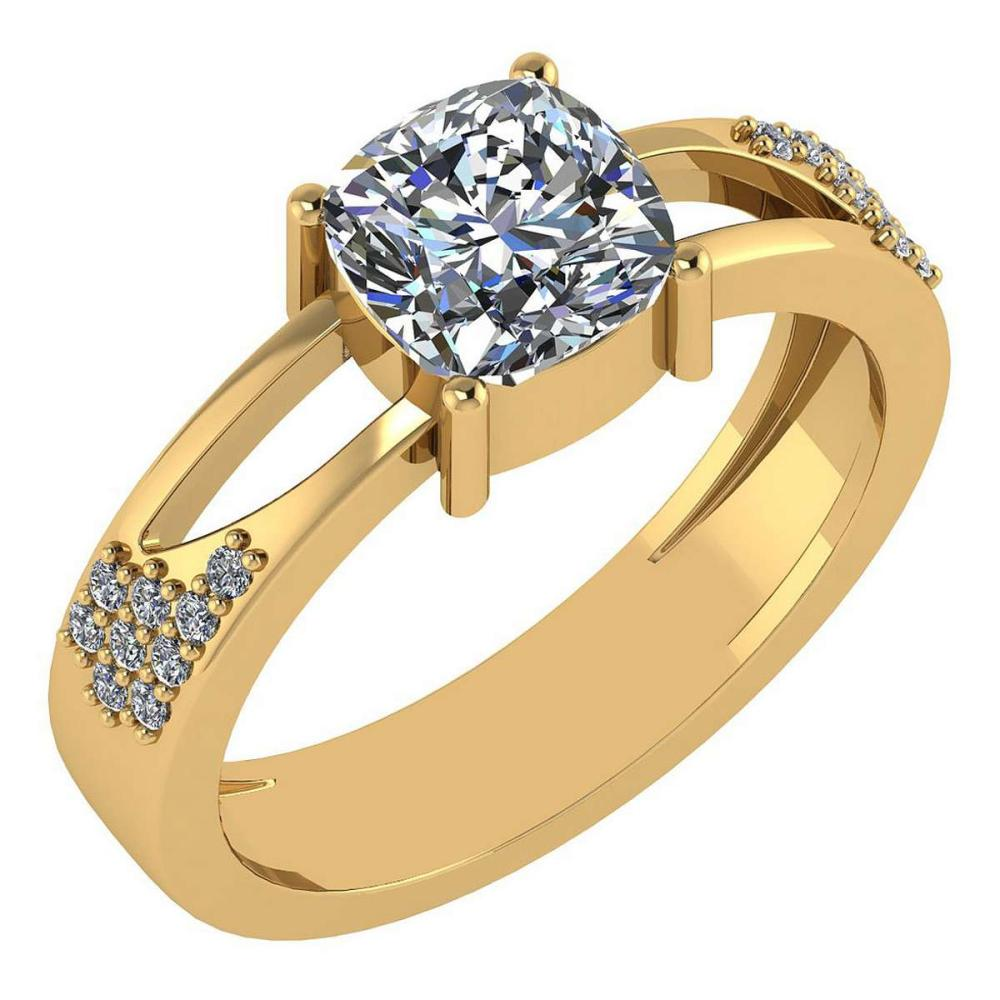 Certified 1.18 Ctw Diamond Wedding/Engagement Style 14K Yellow Gold Halo Ring (SI2/I1) #1AC17909