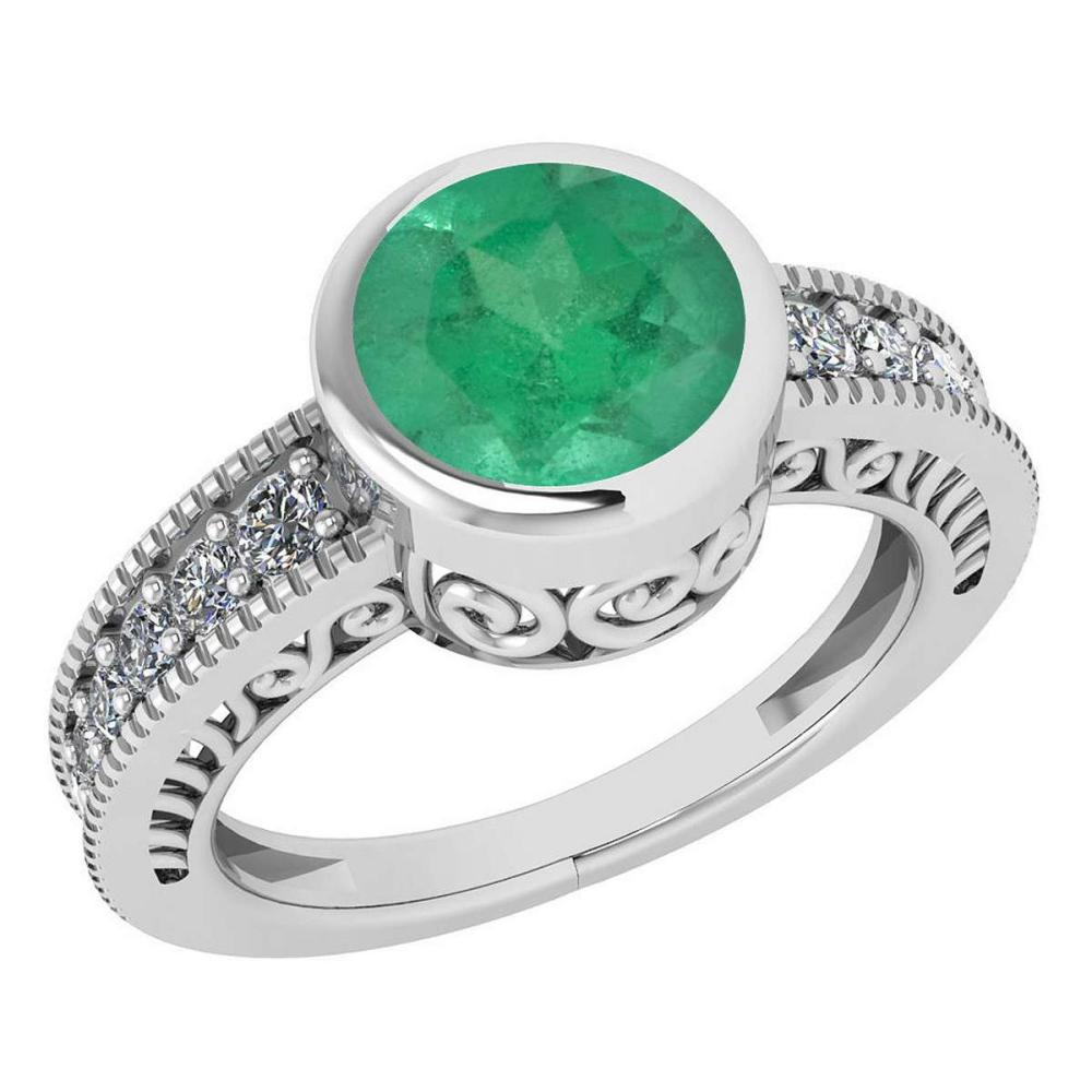Certified 1.95 Ctw Emerald And Diamond Wedding/Engagement 14K White Gold Halo Ring G-H VS/SI1 #1AC15673