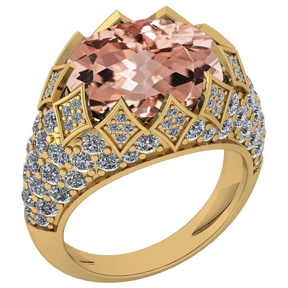 Certified 7.81 Ctw Morganite And Diamond VS/SI1 Unique Engagement Ring 14K Yellow Gold Made In USA #1AC22762