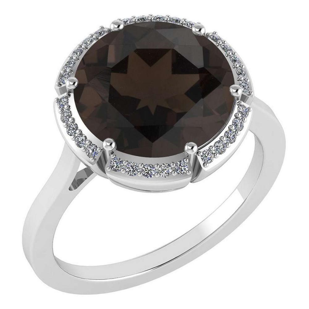 Certified 2.42 Ctw Smoky Quartz And Diamond VS/SI1 Halo Ring 14K White Gold Made In USA #1AC21908