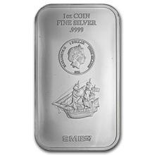 2015 1 oz Silver Cook Islands Bounty Coin Bar (.9999 Fine)