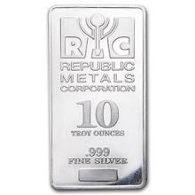 10 oz Silver Bar - Republic Metals Corporation (RMC)